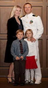 Lt. Ben Charles with his wife, Heidi, and chidren